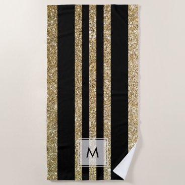 Beach Themed Faux Gold Glitter | Monogram Beach Towel