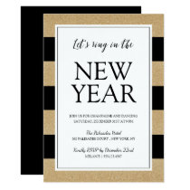 Faux Gold Glitter New Year's Eve Party Invitation