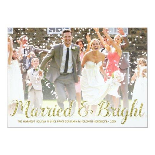 Faux Gold Glitter Newlyweds Holiday Photo Card