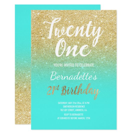 faux gold glitter ombre aqua 21st birthday invitation zazzle com