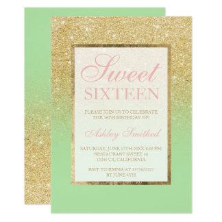 Faux Gold Glitter Ombre Mint Elegant Sweet Sixteen Card