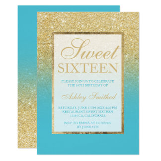 Faux gold glitter ombre peacock blue Sweet 16 Card