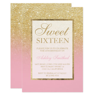 Faux gold glitter ombre pink elegant Sweet sixteen Card