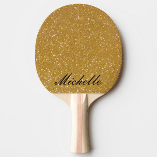 Faux gold glitter ping pong paddle - printed image