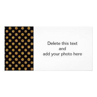 Faux Gold Glitter Polka Dots Pattern on Black Card