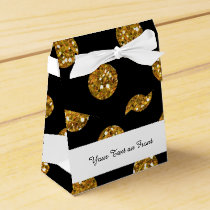 Faux Gold Glitter Polka Dots Pattern on Black Favor Box