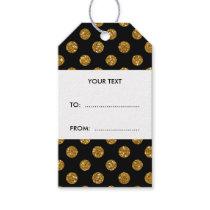 Faux Gold Glitter Polka Dots Pattern on Black Gift Tags