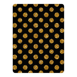 Faux Gold Glitter Polka Dots Pattern on Black Personalized Invitation Cards
