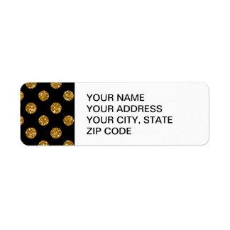 Faux Gold Glitter Polka Dots Pattern on Black Return Address Label