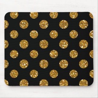 Faux Gold Glitter Polka Dots Pattern on Black Mouse Pad