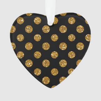 Faux Gold Glitter Polka Dots Pattern on Black Ornament