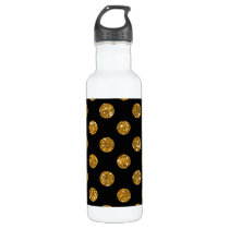 Faux Gold Glitter Polka Dots Pattern on Black Stainless Steel Water Bottle