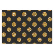 Faux Gold Glitter Polka Dots Pattern on Black Tissue Paper
