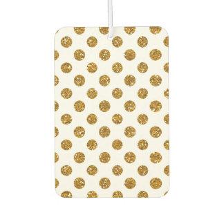 Faux Gold Glitter Polka Dots Pattern on White Air Freshener