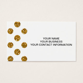 Faux Gold Glitter Polka Dots Pattern on White Business Card