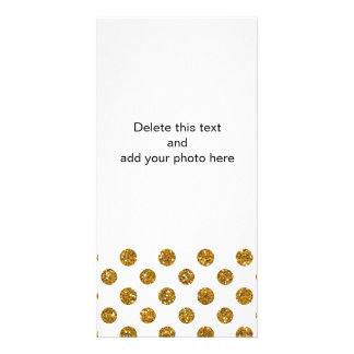 Faux Gold Glitter Polka Dots Pattern on White Card