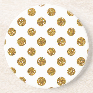 Faux Gold Glitter Polka Dots Pattern on White Coasters