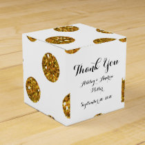 Faux Gold Glitter Polka Dots Pattern on White Favor Box