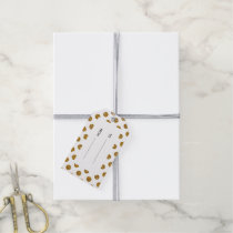 Faux Gold Glitter Polka Dots Pattern on White Gift Tags