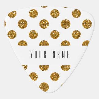 Faux Gold Glitter Polka Dots Pattern on White Guitar Pick