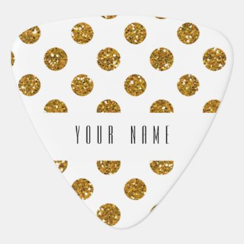 Faux Gold Glitter Polka Dots Pattern On White Guitar Pick by GraphicsByMimi at Zazzle