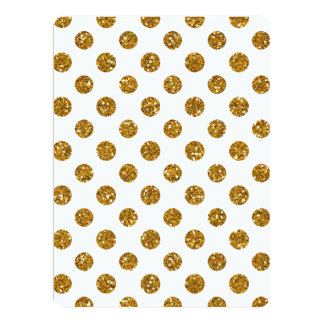 Faux Gold Glitter Polka Dots Pattern on White Customized Announcement Card