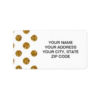 Faux Gold Glitter Polka Dots Pattern on White Label
