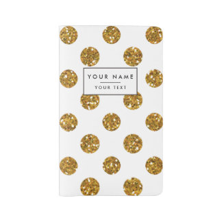 Faux Gold Glitter Polka Dots Pattern on White Large Moleskine Notebook Cover With Notebook