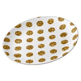 Faux gold glitter polka dots pattern on white porcelain plates for Gold polka dot china