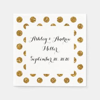 Faux Gold Glitter Polka Dots Pattern on White Paper Napkin
