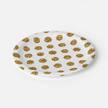 Faux Gold Glitter Polka Dots Pattern on White Paper Plate