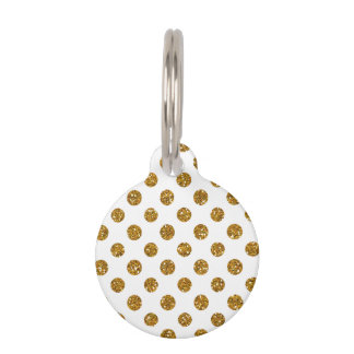 Faux Gold Glitter Polka Dots Pattern on White Pet Tag