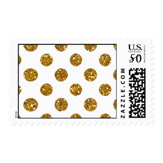 Faux Gold Glitter Polka Dots Pattern on White Postage