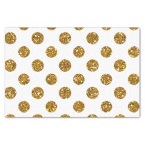 Faux Gold Glitter Polka Dots Pattern on White Tissue Paper
