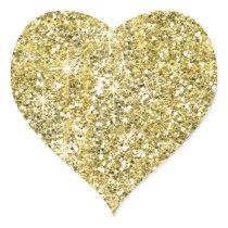Faux Gold Glitter Print Trendy Heart Stickers