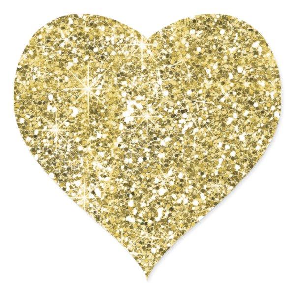 custom faux gold glitter print trendy heart stickers