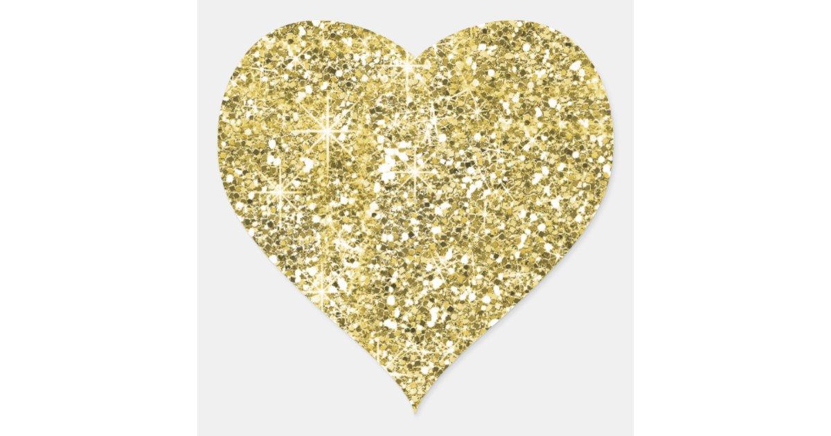 Faux Gold Glitter Print Trendy Heart Stickers Zazzle