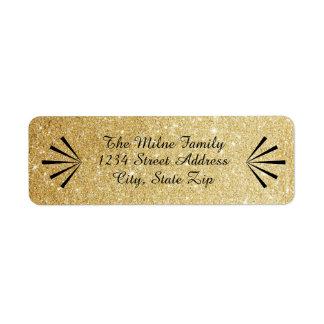Faux Gold Glitter Retro Address Labels