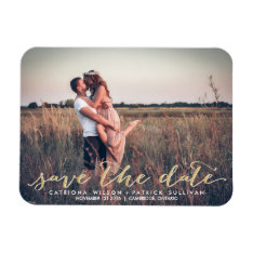 Faux Gold Glitter Script Save The Date Magnets at Zazzle