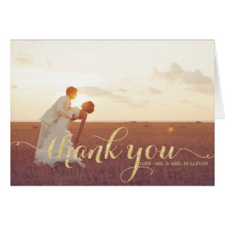 Faux Gold Glitter Script Wedding Thank You Card