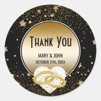 Faux Gold Glitter Stars Black   Wedding Thank You Classic Round Sticker