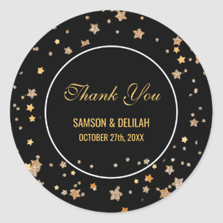 Faux Gold Glitter Stars   Wedding Thank You Favor Classic Round Sticker