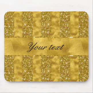 Faux Gold glitter stripes on Gold Foil Mouse Pad