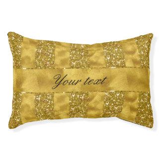 Faux Gold glitter stripes on Gold Foil Pet Bed