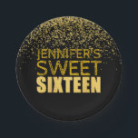 """Faux Gold Glitter Sweet 16 Party Paper Plates<br><div class=""""desc"""">Faux Gold Glitter Sweet 16 Party Paper Plates BLACK -faux gold foil design with a yellow glitter confetti background - the perfect Sweet Sixteen party favor.</div>"""