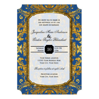 Faux Gold Glitter Ticket Style Vintage Typography Card