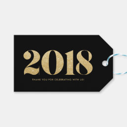 Faux Gold Glitter Typography Happy New Year Black Gift Tags