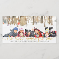 Faux Gold Glitter Typography Holiday Photo Card