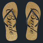"""Faux gold glitter wedding flip flops for bride<br><div class=""""desc"""">Faux gold glitter wedding flip flops for bride and groom. Custom strap color for him and her. Golden sparkly texture with glittery glimmers and sparkling glimmers. Glamorous beach sandals for men and women. Cute party favor for beach theme wedding, marriage, bridal shower, engagement, anniversary, birthday, bbq, bachelorette, girls weekend trip...</div>"""