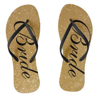 Faux gold glitter wedding flip flops for bride